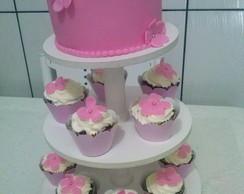 torre de mini bolo e cupcakes
