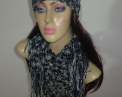 Cachecol feminino em croch� (conjunto)