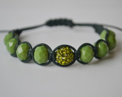 Pulseira cristal e strass Verde - C�d 87