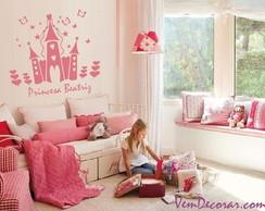 Adesivo Castelo Princesa + Nome + Brinde