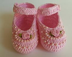 sand�lia rosa com p�rolas e mine rosinha