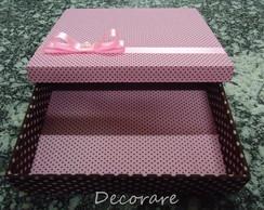 Caixa po�s marrom e rosa