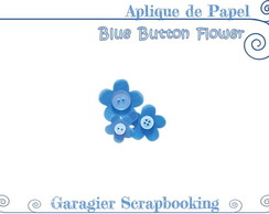 ♥ Aplique de Flores - Blue Button Flower