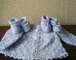 Conjunto-Casaquinho e sapatinho (croch�)