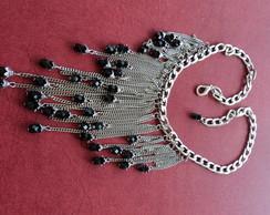 Maxi colar correntes prata e cristais