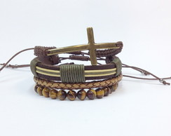 Kit de pulseiras crucifixo ouro velho