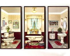 Trio de quadros para banheiro