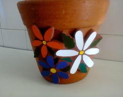 Vaso r�stico com mosaico  - Flores