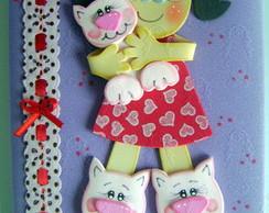 caderno menina e gato rosa
