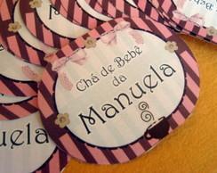 20 Adesivos Mini Mamadeira Marrom e Rosa