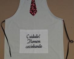 Avental Masculino Bege Gravata Pimentas