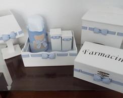 Kit Higiene Passa Fita Xadrez Azul Urso