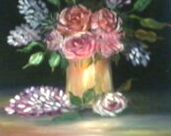 Pintura  a  �leo  Rosas no Vaso