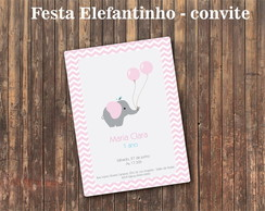 Elefantinho Rosa Chevron Chic Convite