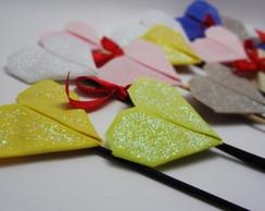 Cora��o de origami em tecido