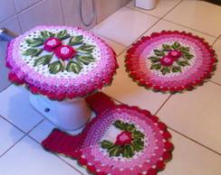 jogo de banheiro 3 pe�as croch�