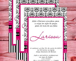 Convite Pink and Black - 15 anos