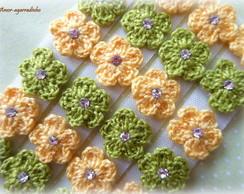 Lacinho Florzinha de Croch� Verde/Amarel
