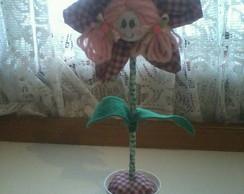vaso de flor de fuxico xadrez