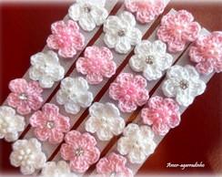 Lacinho Florzinha de Croch� Rosa/Branco