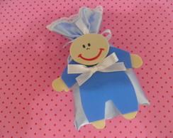 sach� de saquinho azul de cetim beb�