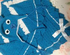 Conjunto de touca e manta de croch� urso