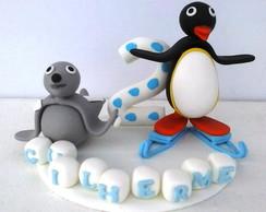 Topo de bolo com vela Pingu