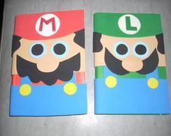 Caderno decorado com tema Mario Bros