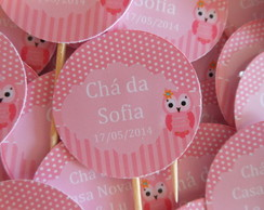 Topper docinho/cupcake corujinha rosa