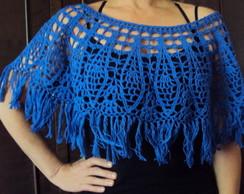 012 Crx Mini Poncho de Croch� Linha Azul