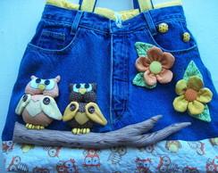 """Bolsa Jeans """"Corujas no Galho"""""""