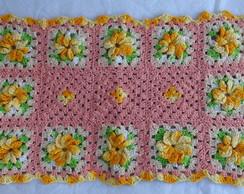 Tapete em croch� com flores