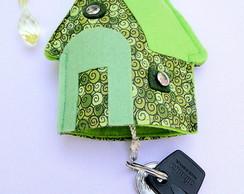 Casa Verde Tecido Chaveiro Especial