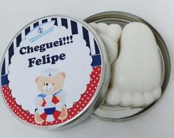 Latinha Urso Marinheiro Pezinho Sabonete