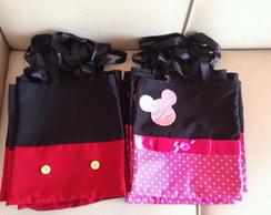 Sacola bolsa feltro Mickey e Minie