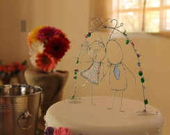 Topo de Bolo de Casamento em Arame