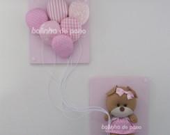 Quadro Ursa Com Bal�es Rosa com Branco