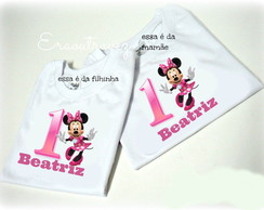 2 camisetas minnie adulto e infantil