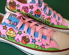 All Star pintado a m�o modelo Cupcakes