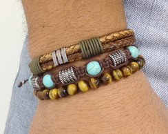 Kit pulseiras couro marrom e turquesa