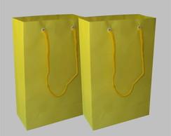 Sacola de papel amarela 15x24x7 cm
