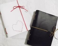 Caderno artesanal com capa flex branco
