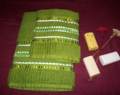 Conjunto de toalhas com tran�ado em fita