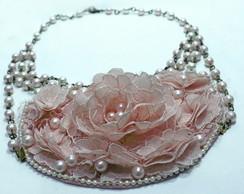 Maxi colar Flores de Renda Rosa