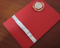 Convite Personalizado Floral Vermelho