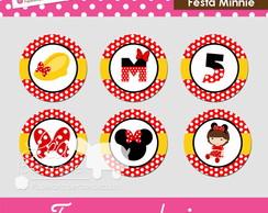 Tags ou adesivos redondos - Festa Minnie