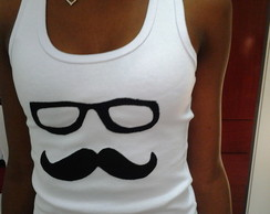 Camisetas em Patch Aplique Bigode �culos