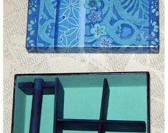 Mini porta biju - azul e preto