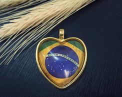 Pingente Folheado Cora��o Brasileiro