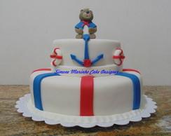 Bolo Ursinho Marinheiro e Cupcakes